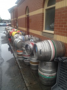 Pile of empties to go back to the breweries. At the Track Side Pub in Bury.