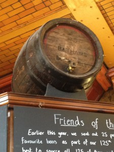A Old wooden firkin on top the bar at the Marble Arch in Manchester.
