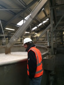 Having a look into one of the steeping vats