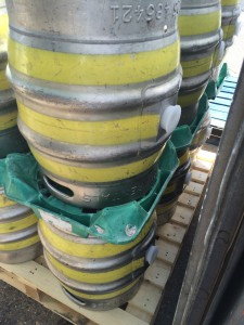 Cask on skid upside down indicating that it is clean but not sanitized
