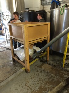 Malt goes into the hopper and up the elevator into the mash tun