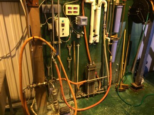The heat exchanger and lot of other control valves and switches alone with the temperature indicators of the HTL and chilling water