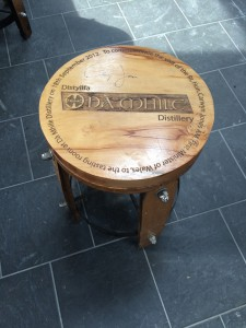 A stool the owner made from an old barrel