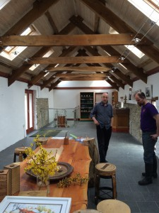 The owner and Buster in the newly re done tasting area.